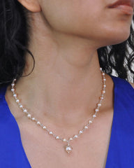 Peach Pearl Drop Necklace Sterling Silver