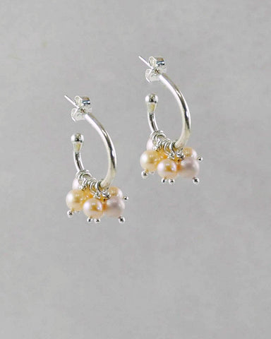 Peach Pearls Hoop Earrings in Sterling Silver