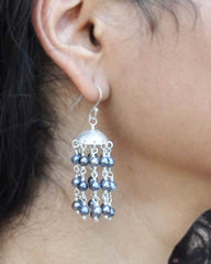 Peacock Blue Pearls Multi Layered Chandelier Earrings