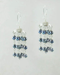 Peacock Blue Gray Pearls Lamp Shade Earrings