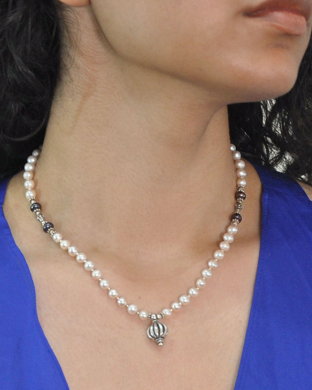 Pearl Drop Necklace Sterling Silver