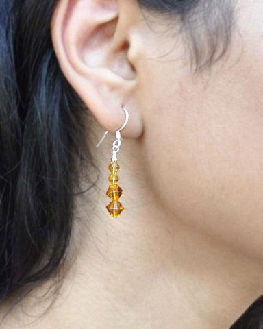 Perseverance Amber Crystals Earrings Sterling Silver