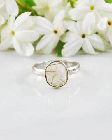 Power Gemstone Ring for Balance - Gold Rutilated Quartz