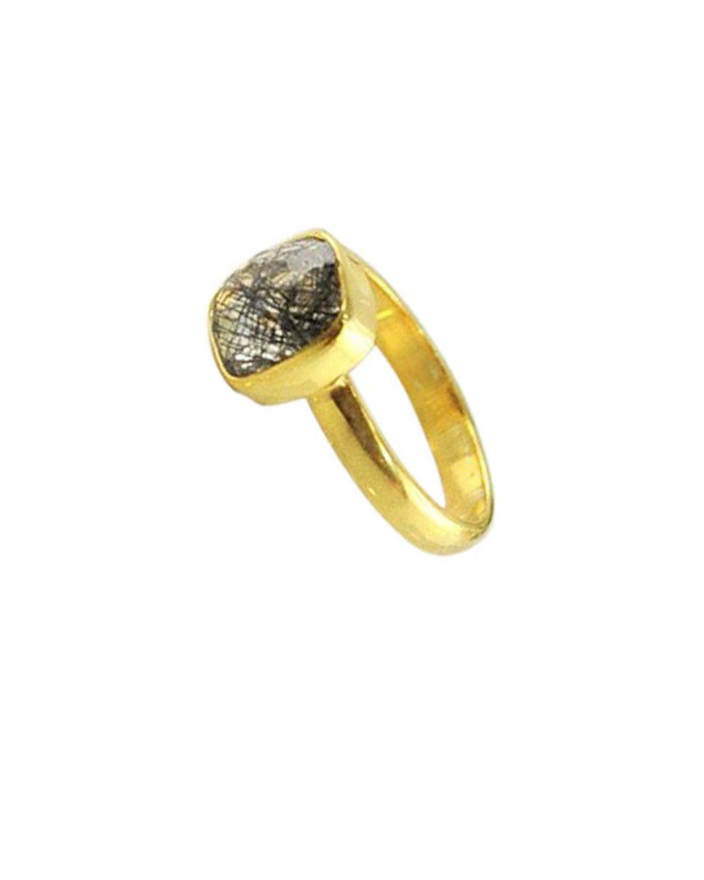 Power Gemstone Ring for Strength Gold Vermeil - Black Rutilated Quartz