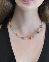 Quiet Reflections Multi Gemstone Necklace Sterling Silver