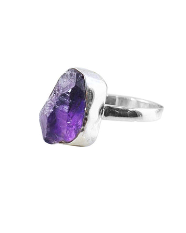 Amethyst Raw Crystal Ring Sterling Silver