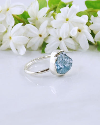 Aquamarine Raw Crystal Ring Sterling Silver