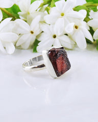 Garnet Raw Crystal Ring Sterling Silver