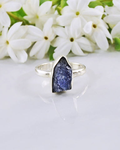 Iolite Raw Crystal Ring Sterling Silver