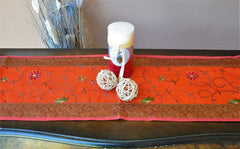 "Orange Luxury Silk Table Runner with Brocade Border in Antique Gold 60"" x 12"""