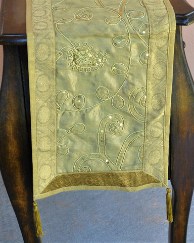"Antique Gold Luxury Silk Table Runner with Sequins Embroidery 60"" x 12"""