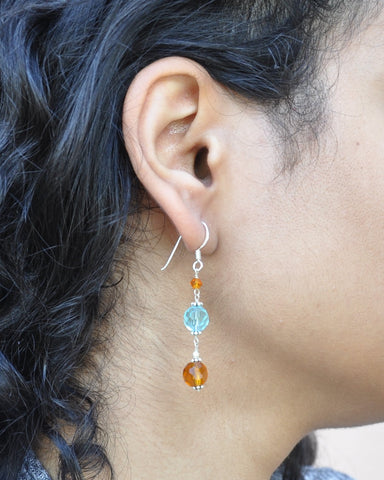 Serenity Blue and Amber Crystals Earrings Sterling Silver