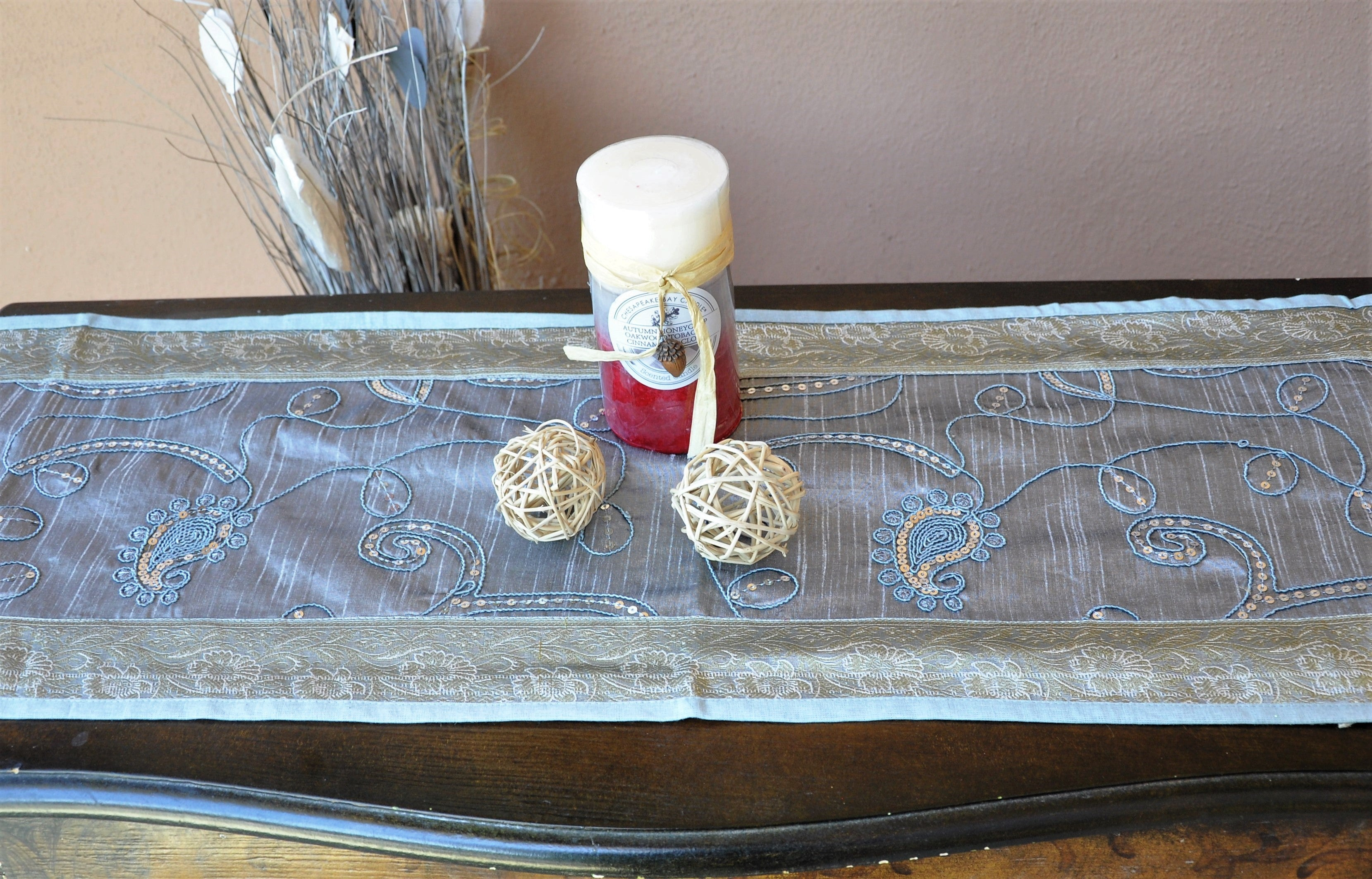 "Silver Luxury Silk Table Runner with Sequins Embroidery and Brocade Border 60"" x 12"""