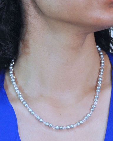 Sophisticated Gray Pearls and White Crystal Necklace