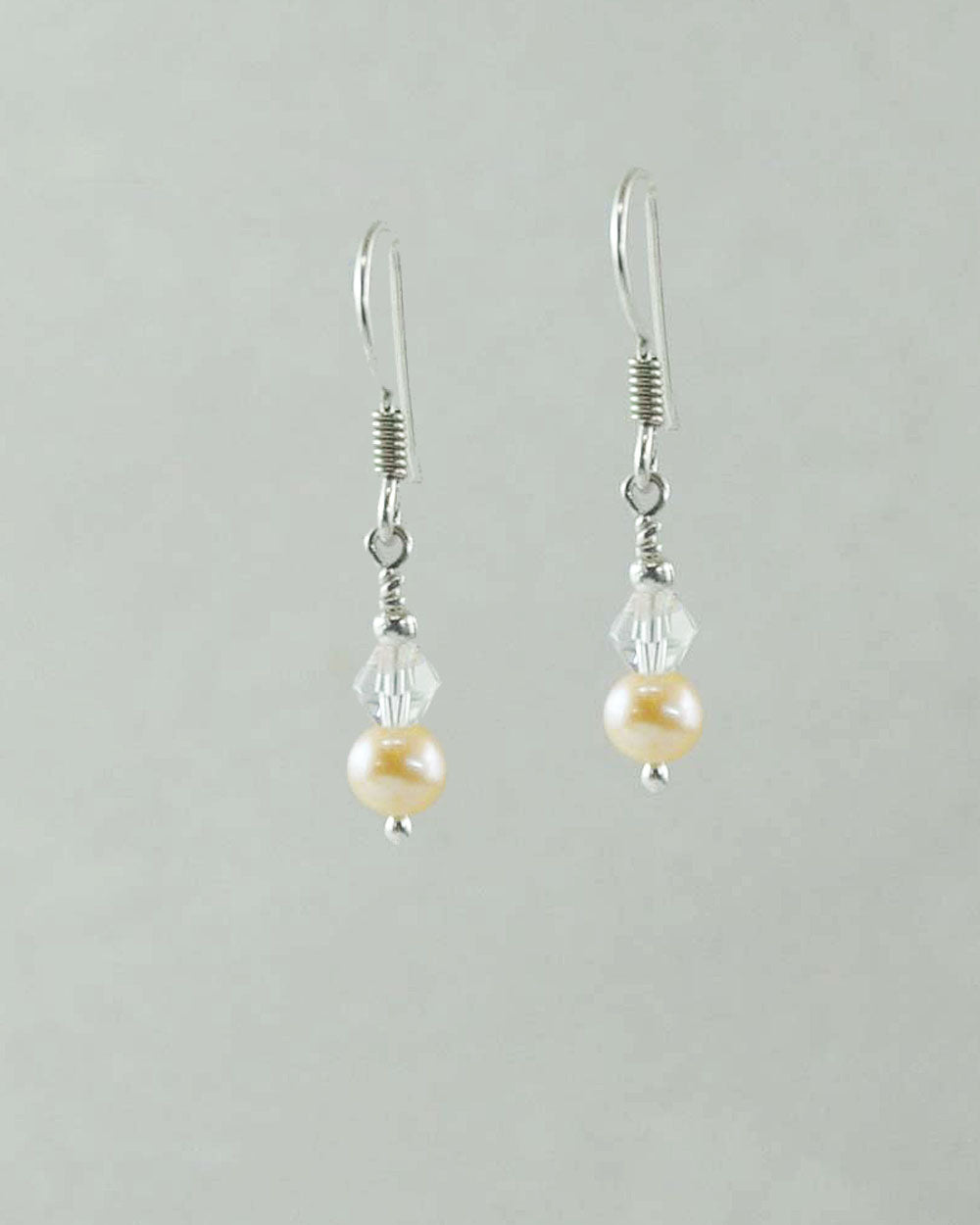 Sophisticated Peach Pearls and White Crystal Earrings