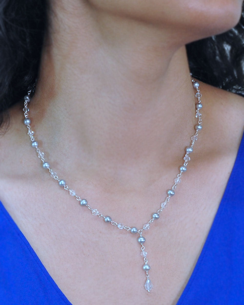 Sparkling Natural Gray Pearls and Crystals Necklace