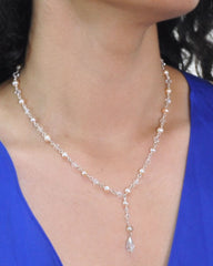 Sparkling Natural Peach Pearls and Crystals Necklace