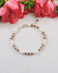 Stability Brown Crystal and Pearl Sterling Silver Bracelet