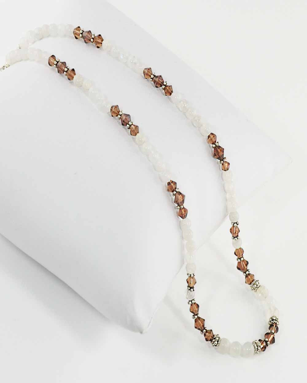 Stability Brown Crystals and Moonstone Necklace