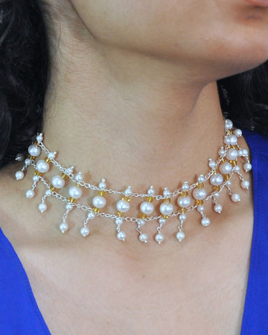 Vintage Style Pearls and Crystals Choker Sterling Silver