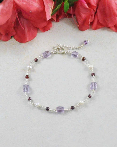 Trust Your Journey Multi Gemstone Sterling Silver Bracelet