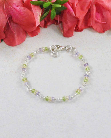 Radiant Multi Gemstone Sterling Silver Bracelet