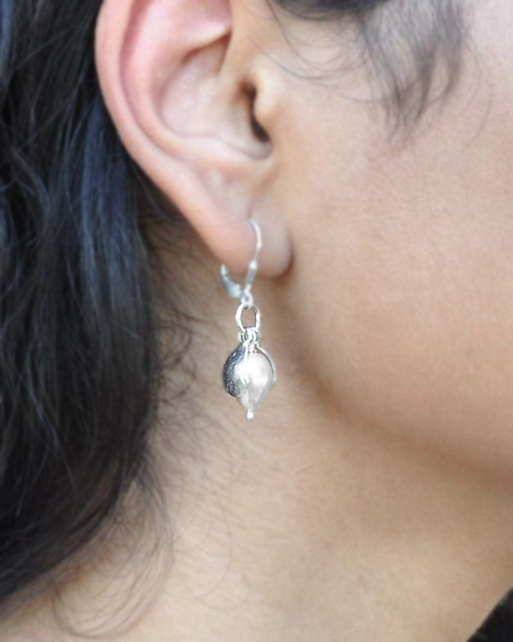 White Pearl Dangling Earrings in Sterling Silver