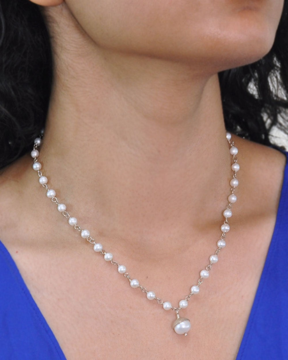 White Pearl Drop Necklace Sterling Silver