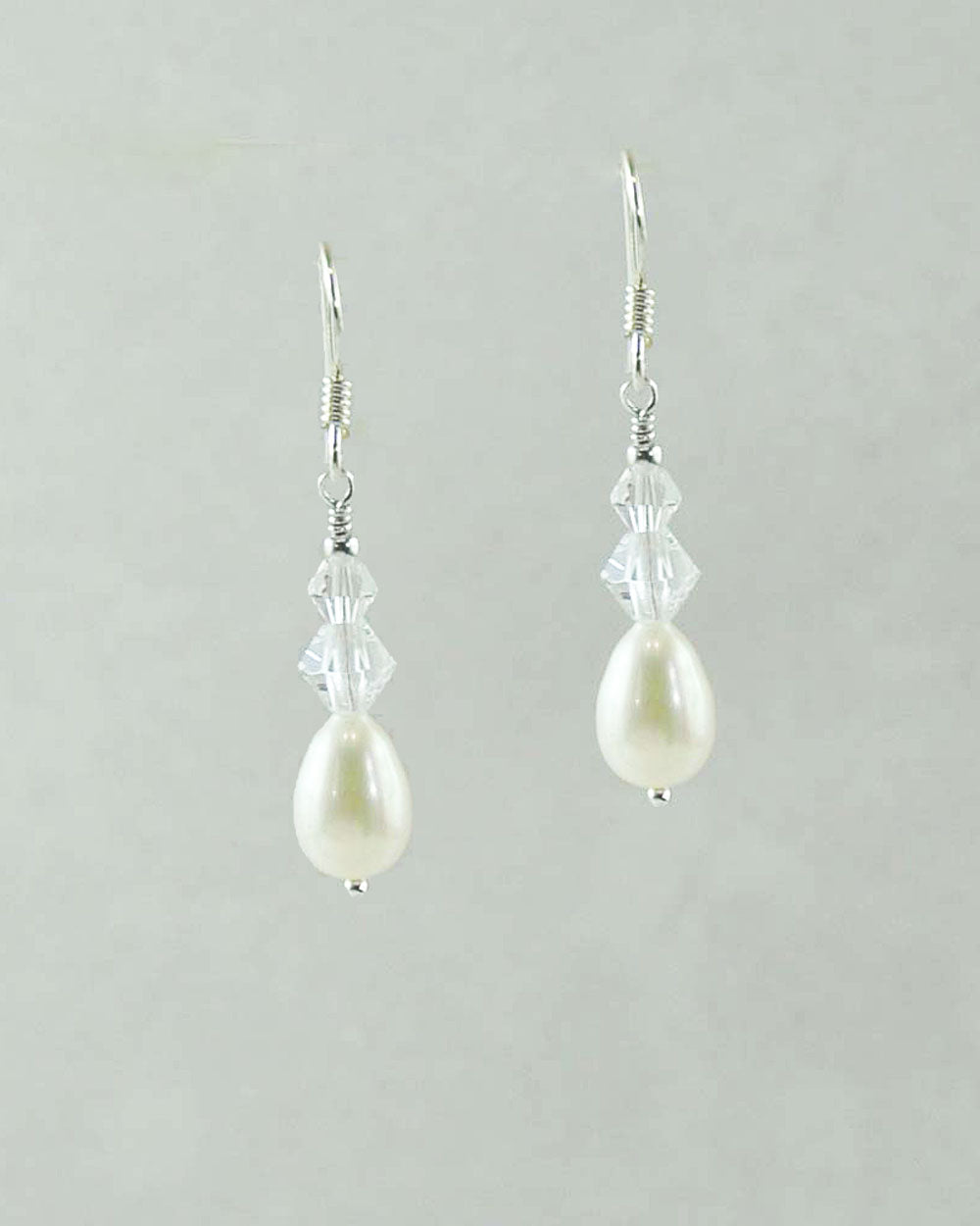 White Pearl and Double Crystals Drop Earrings