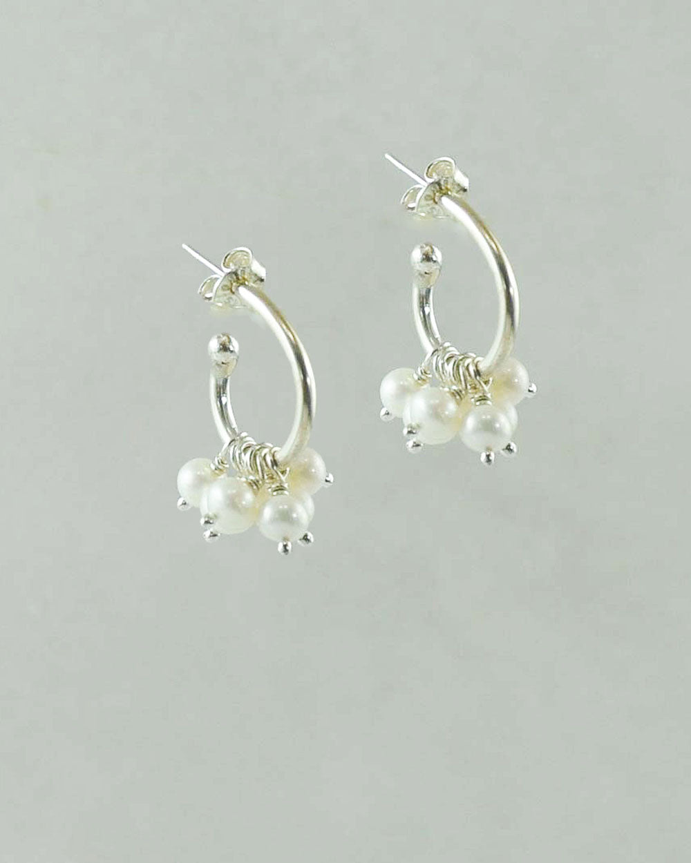 White Pearls Hoop Earrings in Sterling Silver