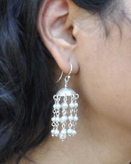 White Pearls Multi Layered Chandelier Earrings