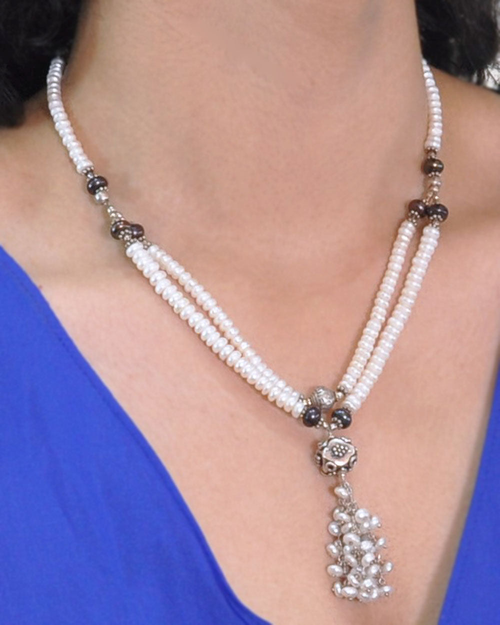 White and Gray Pearls Tassel Layered Necklace