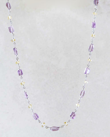 Gentle Guidance Amethyst and Citrine Necklace Sterling Silver