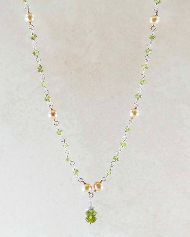 Joyfulness Pearl and Peridot Drop Sterling Silver Necklace