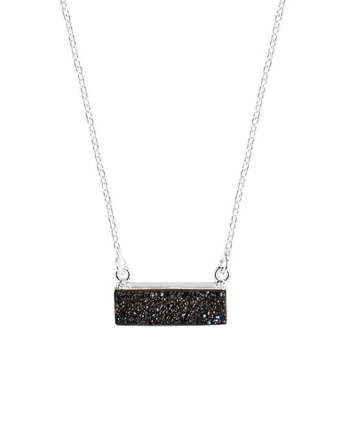 Sparkle Black Bar Druzy Sterling Silver Necklace