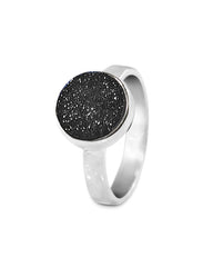 Sparkle Black Druzy Sterling Silver Ring