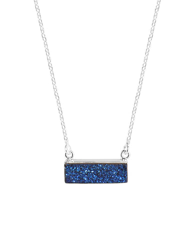 Sparkle Blue Bar Druzy Sterling Silver Necklace