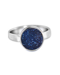 Sparkle Blue Druzy Sterling Silver Ring