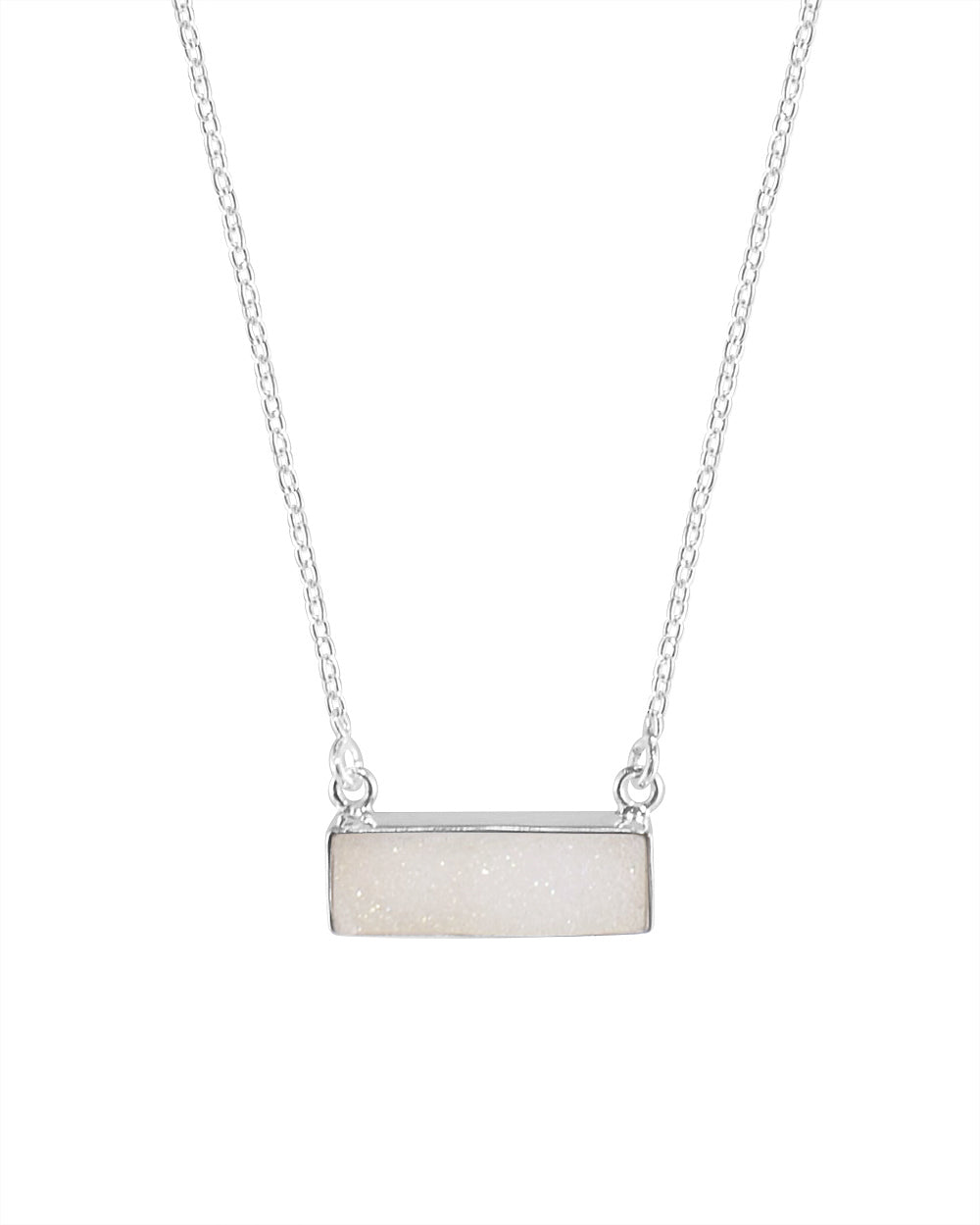 Sparkle White Bar Druzy Sterling Silver Necklace
