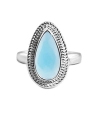 Splendor Pear Cut Blue Chalcedony 925 Sterling Silver Ring