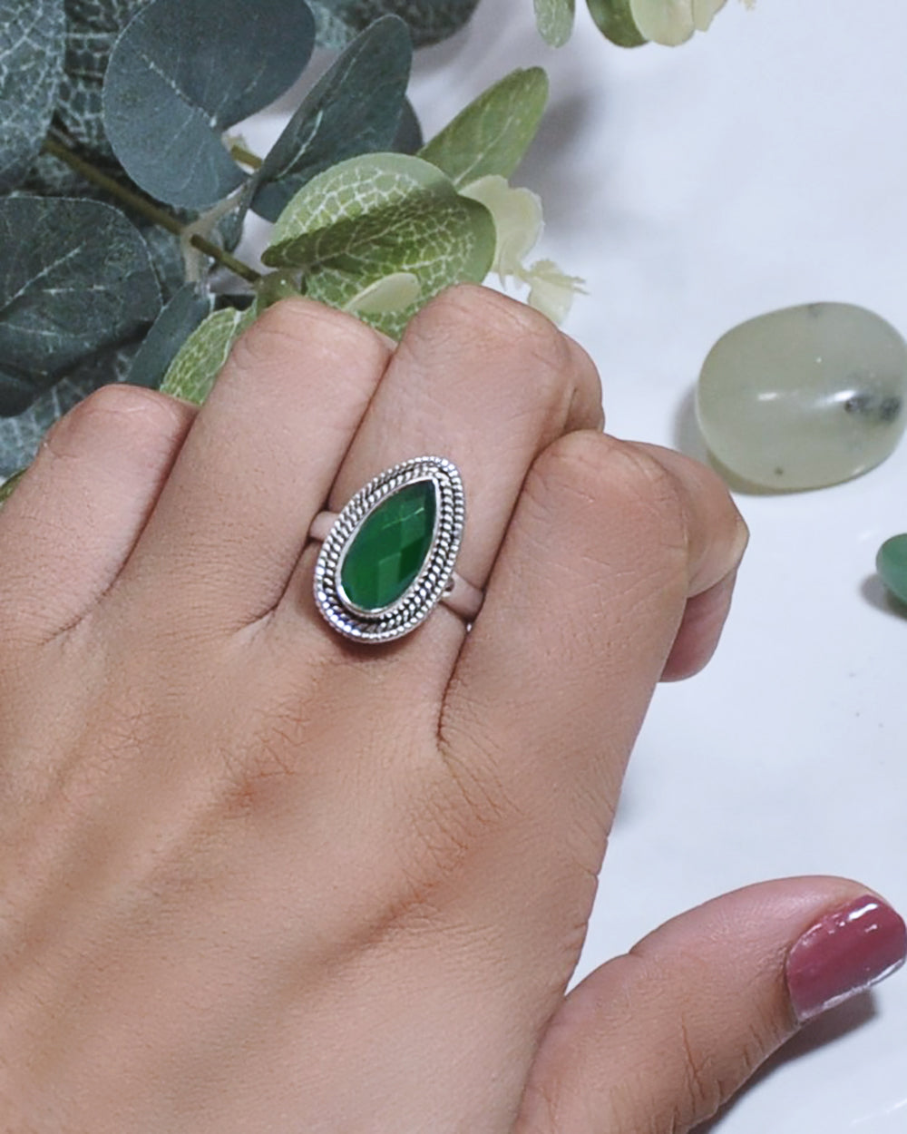 Splendor Pear Cut Green Onyx 925 Sterling Silver Ring