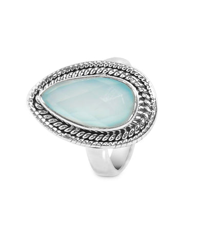 Splendor Pear Cut Peruvian Opal 925 Sterling Silver Ring