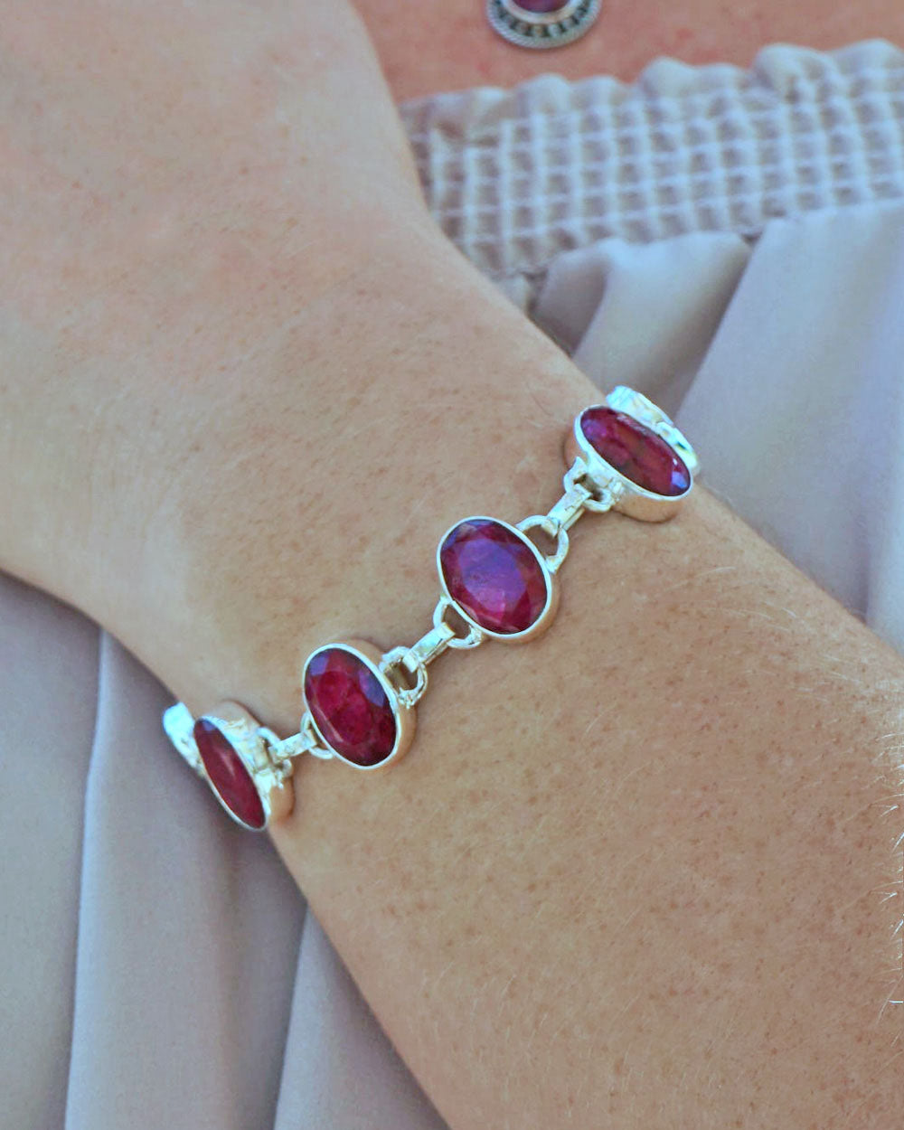Splendor Raw Ruby Sterling Silver Link Bracelet
