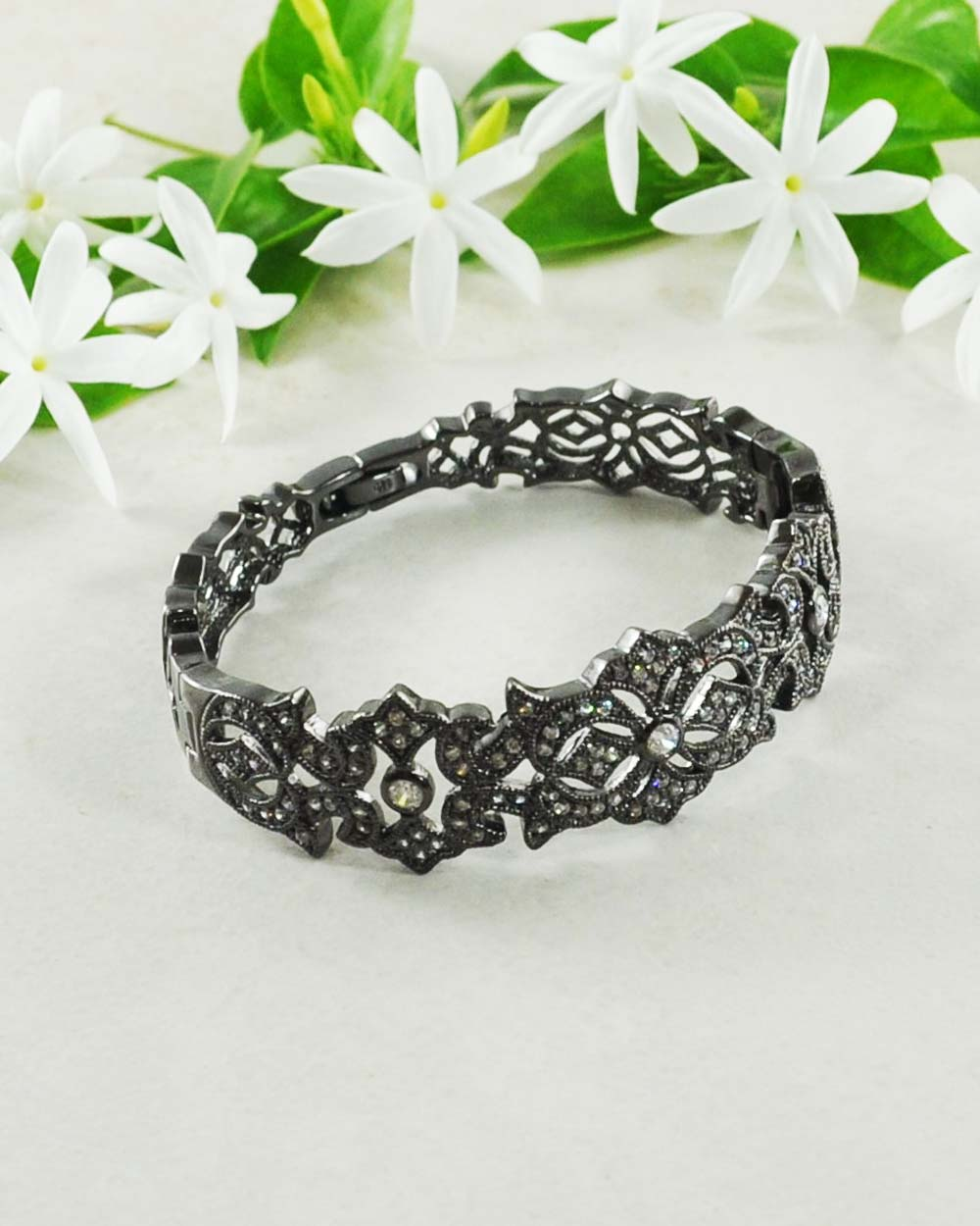 Starlight Brilliant CZ Bracelet in 925 Sterling Silver & Black Rhodium