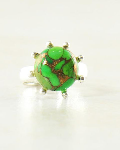 Sunflower Green Turquoise Pinky Ring in Sterling Silver