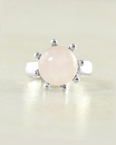 Sunflower Rose Quartz Pinky Ring in Sterling Silver