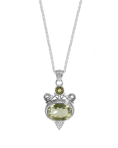 Tantra Green Amethyst Parsiolite Sterling Silver Necklace