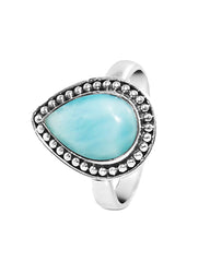 Tara Pear Cut Blue Dominican Larimar 925 Sterling Silver Ring
