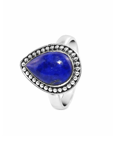 Tara Pear Cut Lapis Lazuli 925 Sterling Silver Ring