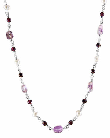 Trust Your Journey Multi-gem Sterling Silver Necklace